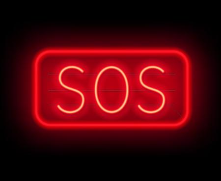 Neon sign SOS. The inscription on a dark background. Vector illustration.