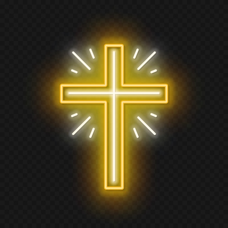 Church cross neon sign. Glowing symbol of the crucifixion. Illustration