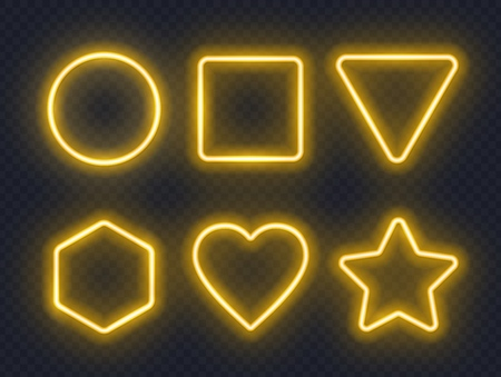 Set of yellow glowing neon frames on dark background. Çizim