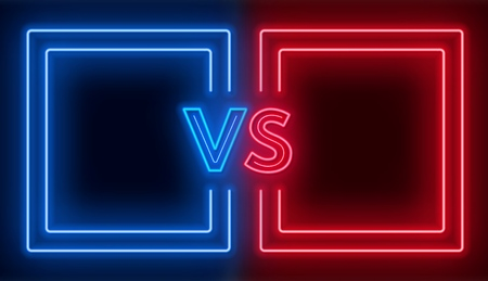Versus screen with neon frames and vs sign on the dark background. Confrontation design.