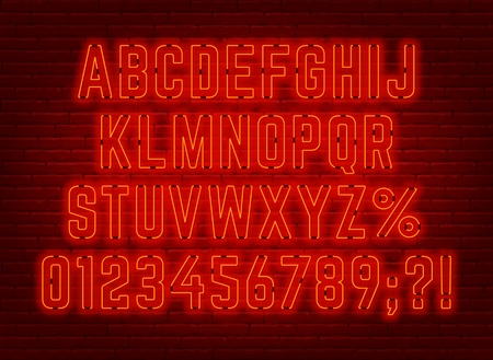 Neon bright red font with numbers. Vector illustration.