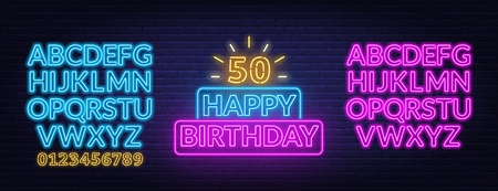 Happy birthday neon sign. Greeting card template on dark background. Vector illustration of EPS 10.