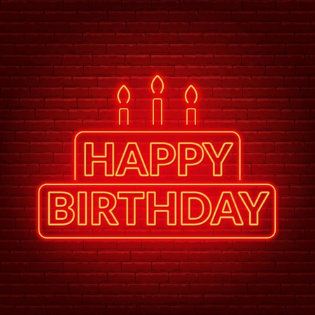 Happy birthday neon sign. Birthday card in the shape of a cake with candles on a dark background. Vector illustration of EPS 10. Ilustrace