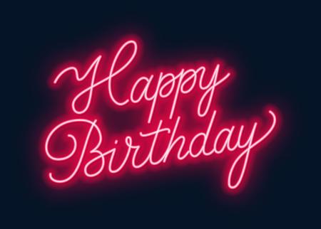 Feliz cumpleaños letrero de neón. Tarjeta de felicitación sobre fondo oscuro. Ilustración de vector de EPS 10.