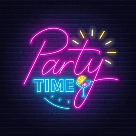 Party time neon lettering in retro style. Vector illustration on a dark background.  イラスト・ベクター素材