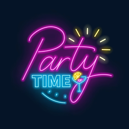 Party time neon lettering in retro style. Vector illustration on a dark background. Ilustracja