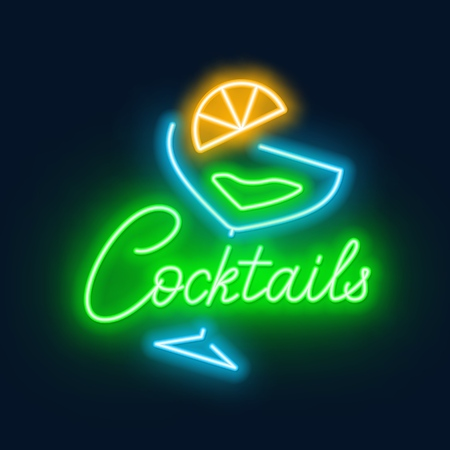 Neon lettering cocktails and sign on a black background.