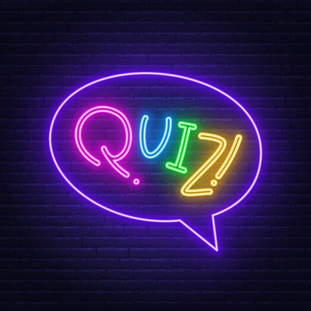 Neon Lettering Quiz on a brick wall background. Multicolored inscription. Vector illustration.