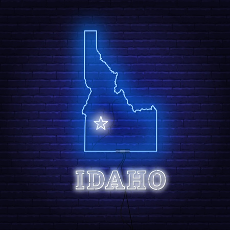 Neon map State of Idaho on a brick wall background.. Vector Illustration.