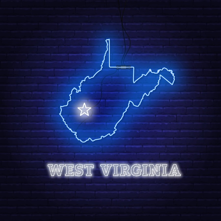 Neon map State of West Virginia on a brick wall background. Vector Illustration. Ilustrace