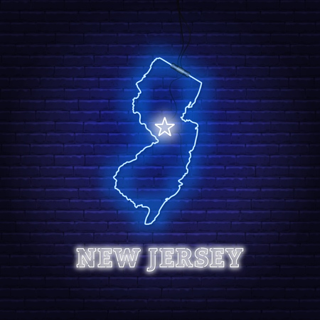 Neon map State of New Jersey on a brick wall background. Vector Illustration.