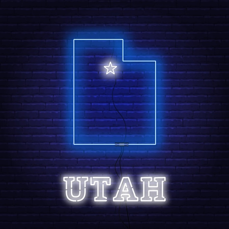 Neon map State of Utah on a brick wall background. Vector Illustration. 矢量图像