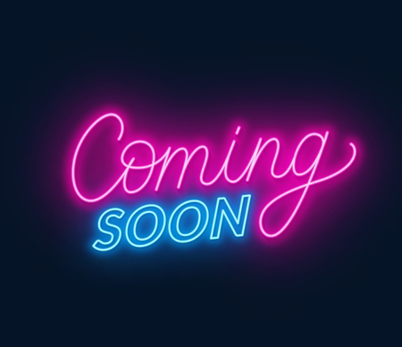 Coming soon neon sign on black background. Illustration