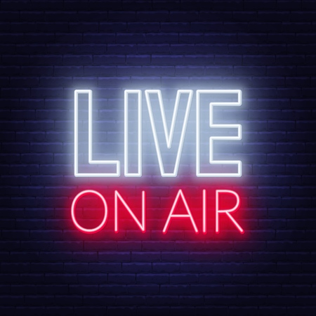Live on air glowing sign on a dark background. Vector illustration.
