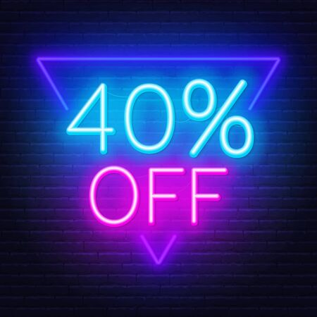 40 percent off neon lettering on brick wall background Illusztráció
