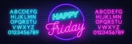 Happy Friday neon sign. Greeting card on dark background.