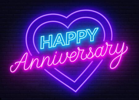 Happy anniversary neon sign. Greeting card on dark background. Illusztráció