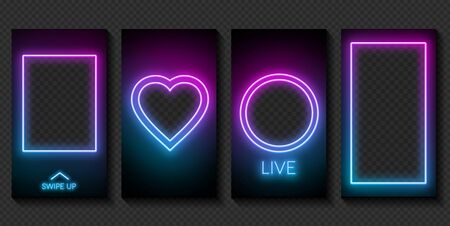 Set of neon templates for stories on social networks on a dark background. Ilustrace