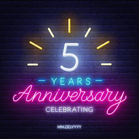 5 anniversary celebration neon sign on a dark background.