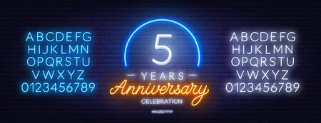 5th anniversary celebration neon sign on dark background.