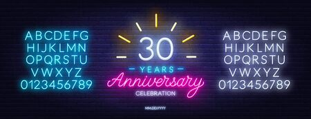 30th anniversary celebration neon sign on dark background.