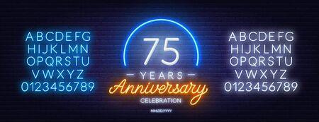 75th anniversary celebration neon sign on dark background.