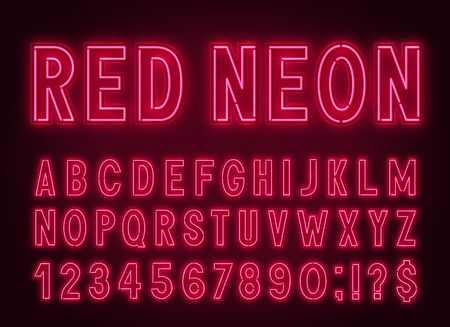 Neon red font, light alphabet with numbers.