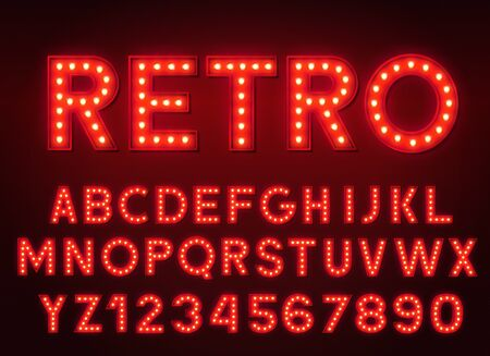 3d light bulb red alphabet with numbers on a dark background. Retro glowing font. Stock Illustratie