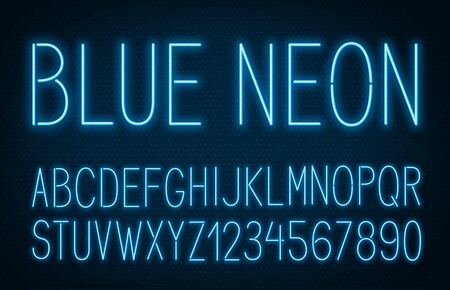 Neon thin high blue font on dark background. Stock Illustratie