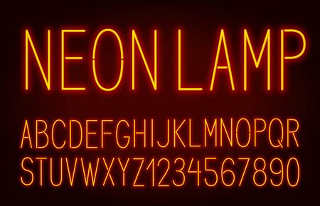 Neon thin high orange font on dark background.