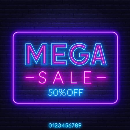 Mega sale neon sign on dark background. Discount template. Stock Illustratie