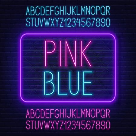Neon pink and blue fonts. Two glowing, contrasting alphabet for design. Stock Illustratie