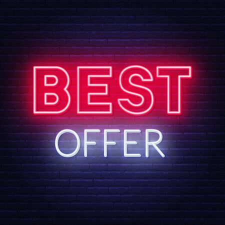 Best offer neon sign on dark background.