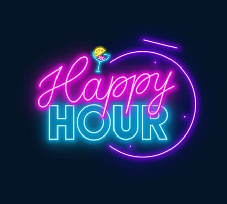 Happy hour neon sign on dark background.