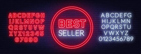 Best seller neon sign on dark background. Stock Illustratie
