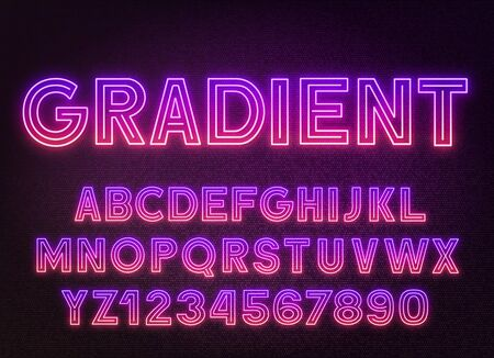 Purple Pink gradient neon alphabet on a dark background . Capital letters and numbers.