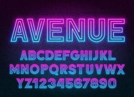Pink Blue gradient neon alphabet on a dark background . Capital letters and numbers. Stock Illustratie
