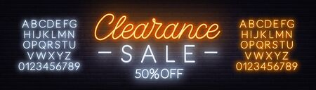 Clearance sale neon sign on dark background. Template for design.