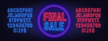 Final sale neon sign on dark background. Neon alphabet on a dark background. Template for design. Stock Illustratie