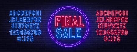 Final sale neon sign on dark background. Neon alphabet on a dark background. Template for design. Illustration