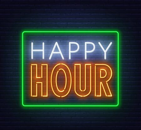 Happy hour neon sign on dark background. Vector illustration. Stock Illustratie