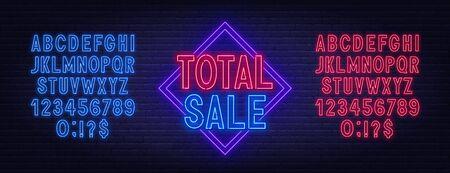 Total sale neon sign on dark background. Neon alphabet on a dark background. Template for design. Illustration
