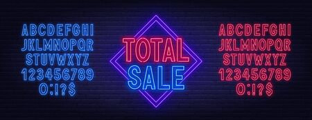 Total sale neon sign on dark background. Neon alphabet on a dark background. Template for design. Stock Illustratie