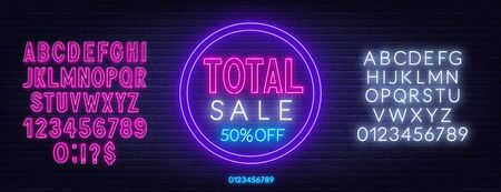 Total sale neon sign on dark background. Template for design.