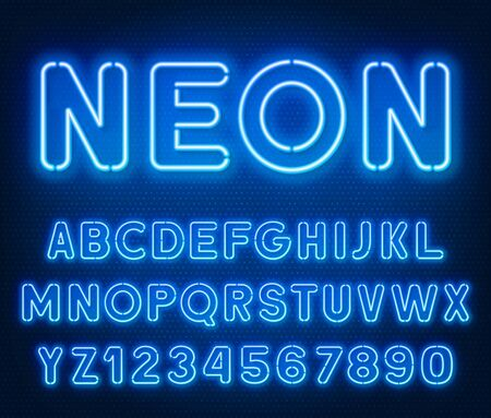 Neon rounded blue font, glowing alphabet with numbers.