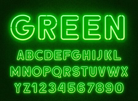 Neon rounded green font, glowing alphabet with numbers.