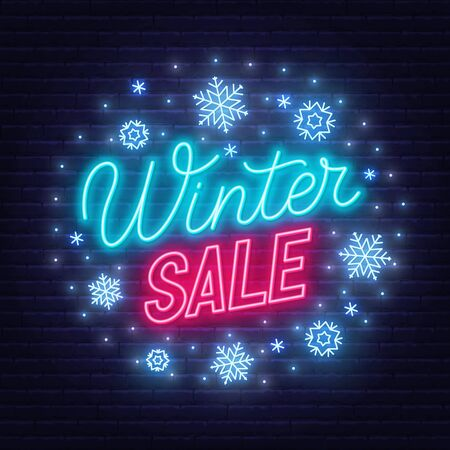 Winter sale neon sign on dark background Stock Illustratie