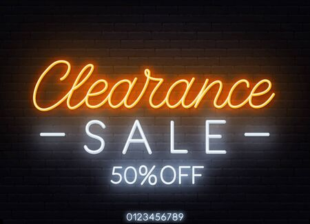 Clearance sale neon sign on dark background