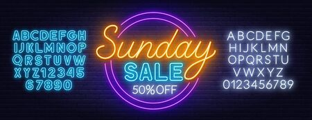 Sunday sale neon sign on dark background. Discount template. Neon alphabet on a dark background. Template for design. Stock Illustratie