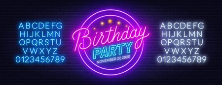 Neon sign birthday party on brick wall background. Stock Illustratie